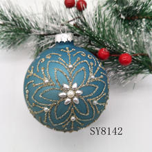 hot sale blue glass ball with pearl painted Christmas hanging ball