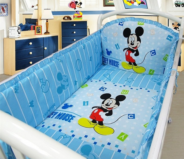 Promotion 6pcs Mickey Mouse crib bedding set bumpers for cot bed cotton baby bedding kit bed