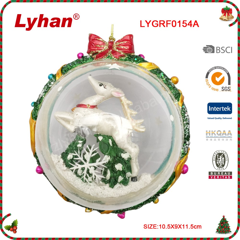 Lyhan hot sale glass ball with resin elk inside for christmas hanging ornament