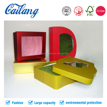 "Metallic color rigid handmade kraft paper 2 pcs box in letter ""D"" shaped for hair extension packaging"