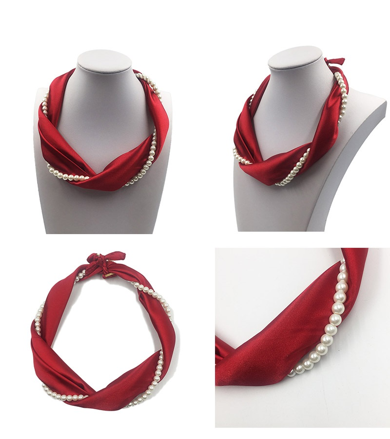 2017 silk women accessories jewelry red neck scarf bufandas con joyas pearl necklace