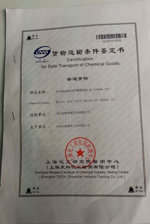 Certification for Safe Transport of  Chemical  Goods