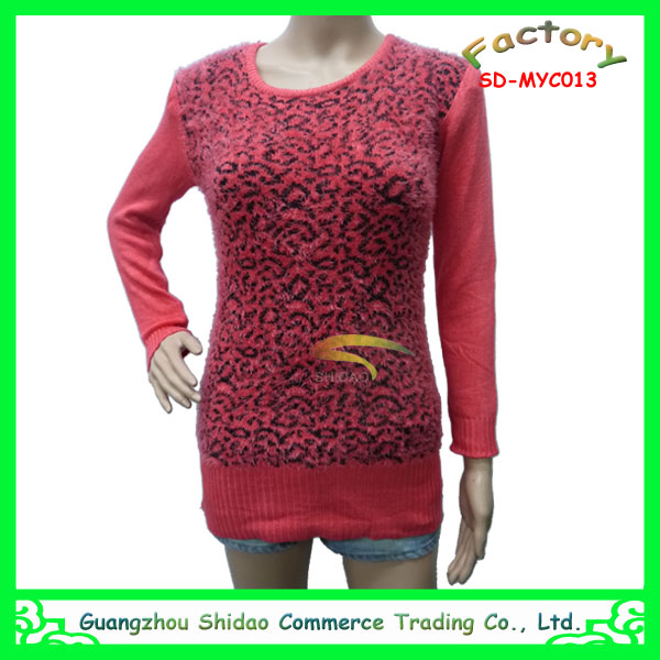 Branded wholesale red leopard print woven knitted wool sweater