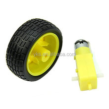 Factory Price Plastic Tire Wheel with DC 3V 5V 6v Gear Motor For DIY Robot Smart Car Robot