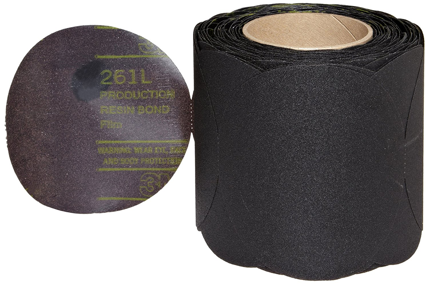 "3M Stikit Film Disc Roll 261L, Aluminum Oxide, 5"" Diameter, P150 Grit (Roll of 250)"