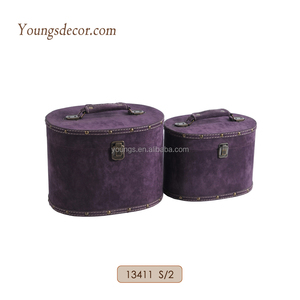 handmade suede leather wrapped decorative round hat box wooden