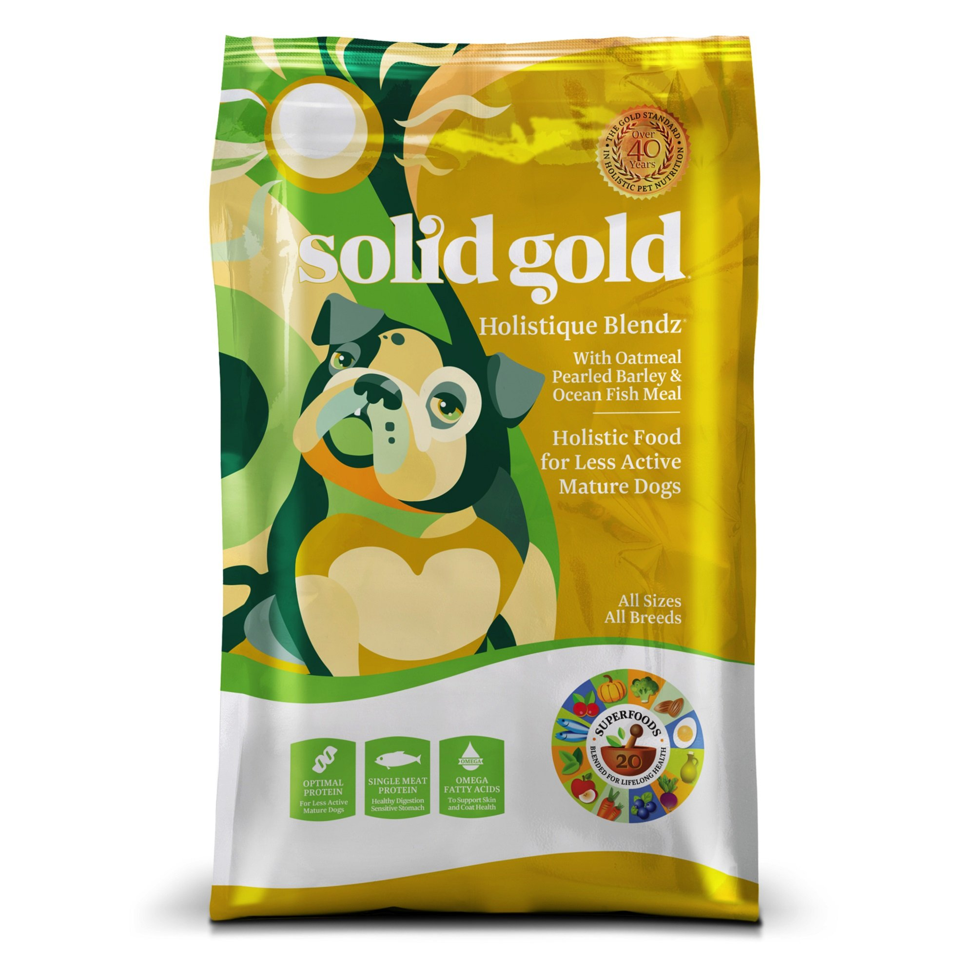 Solid Gold Sensitive Stomach Dry Dog Food; Holistique Blendz with Oatmeal & Ocean Fish Meal
