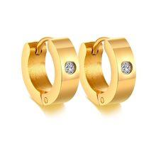 Базовые серьги-кольца из нержавеющей стали Vnox для мужчин и женщин, унисекс, серьги Huggie с аксессуарами из кубического камня(Китай)