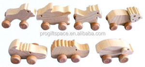 hot eco friendly new products promotional gift wholesale ornaments mini animal wood carving on wheels on alibaba express