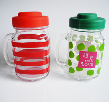 16oz Handle Decorative Glass Mason Juice Jar With Plastic Pig Screw