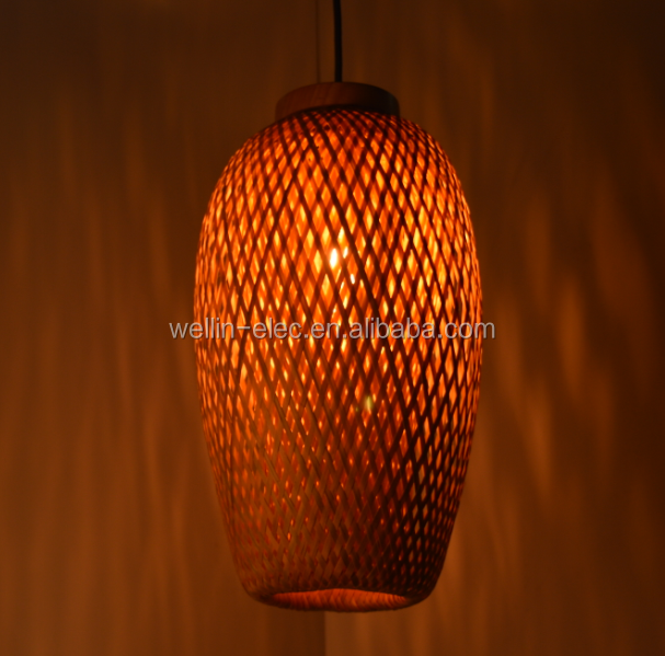 60w European loft hanging lamp bamboo pendant <strong>light</strong>