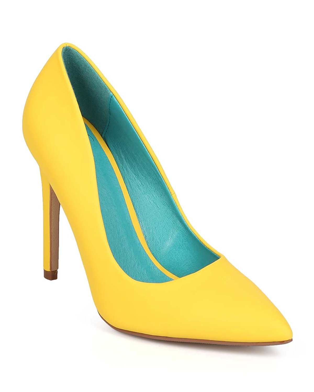 1e74602eefc5 Get Quotations · Fouever Funky Yellow Cindy by Not Just A Pump Classic  Pointy Toe Heels Women s Shoes