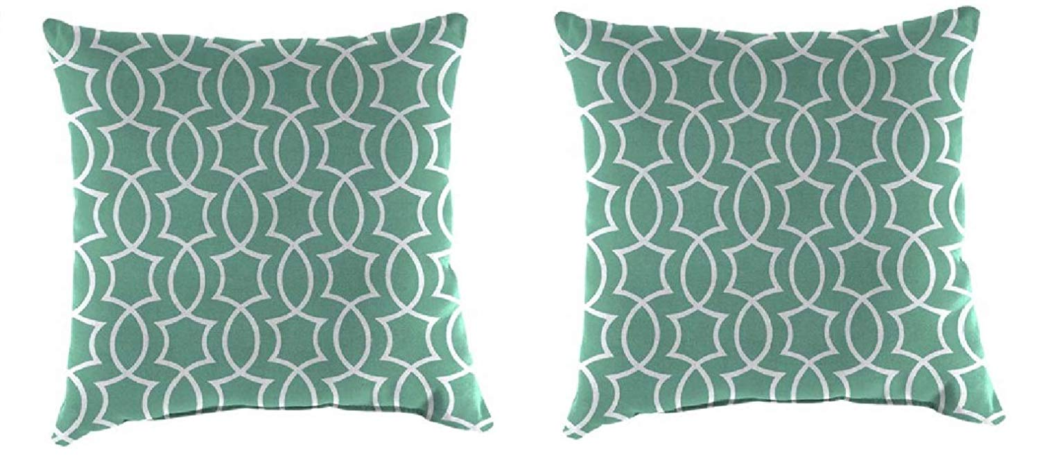 """Set of 2-16"""" Toss Pillow Indoor/Outdoor Patio in Titan Peacock - Non-Allergenic Polyester Fiberfill, Resists Fading, Mold and Mildew"""