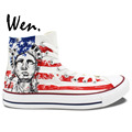 Wen Design Custom Hand Painted Shoes American Flag Eagle Statue of Liberty Men Women s High