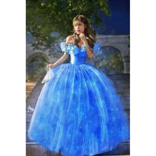 Cinderella 2015 Costumes Girls Dresses Shoes Jewelry: 2015 New Movie Scarlett Sandy Princess Dress Blue