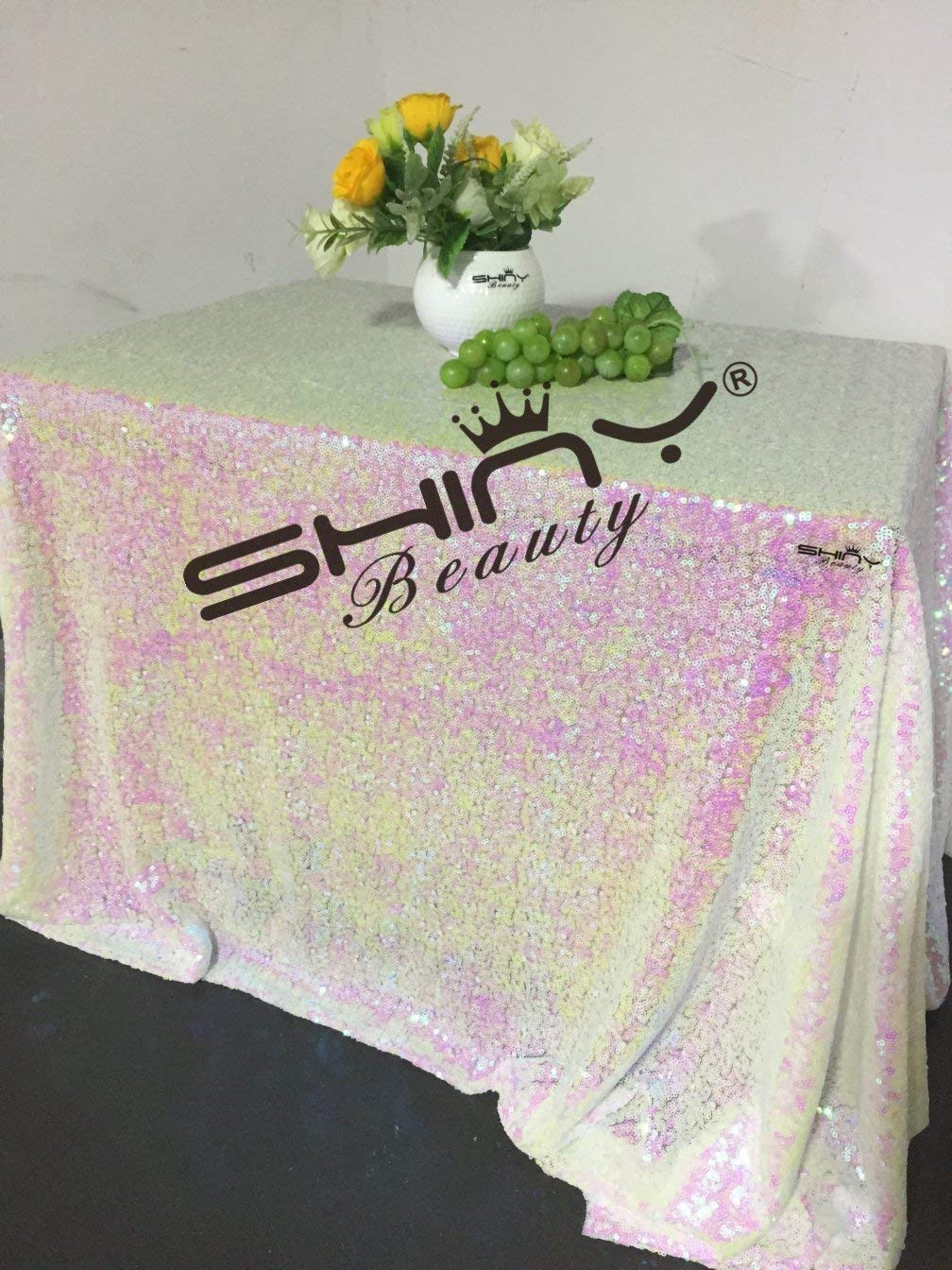ShinyBeauty Iridescent White-Sequin Tablecloth-90x132-Inch Square Glitter Table Linen For Wedding Decoration