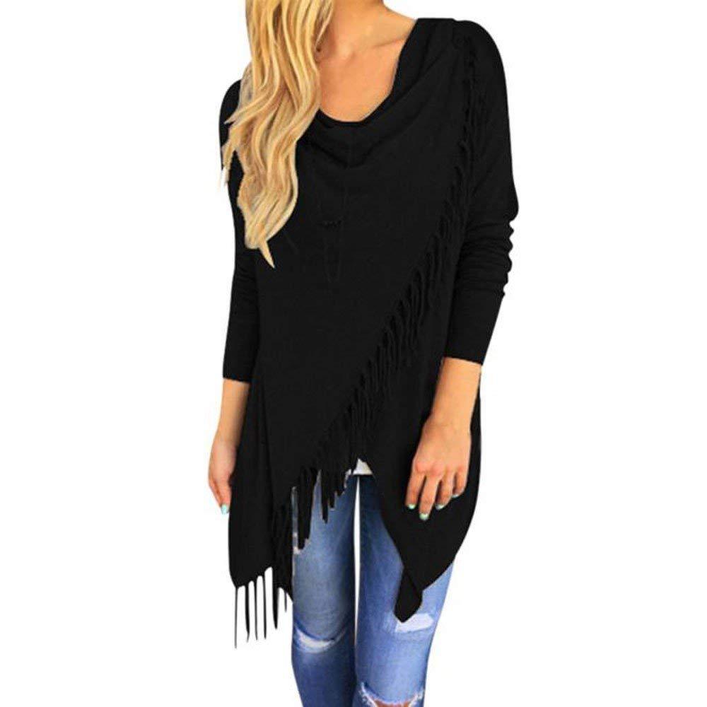 Farjing Blouse for Women,Clearance Sale Women Long Sleeve Tassel Hem Crew Neck Knited Cardigan Blouse Tops Shirt