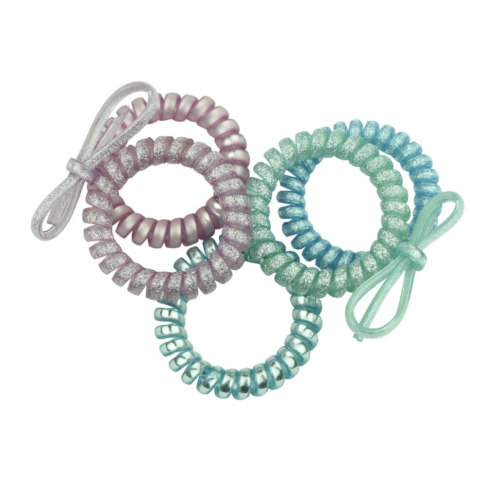 4 x SMALL CLEAR Telephone Coiled Cord Scrunchie Hair Elastics Band Elasticated