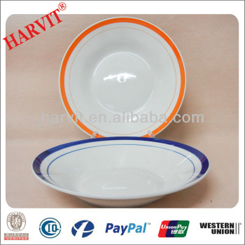 Hotel \u0026 Restaurant Round Ceramic Plates Color Lines Rim / Soup Plates / Wholesale Tableware Dinnerware  sc 1 st  Alibaba : colored dishes dinnerware - pezcame.com