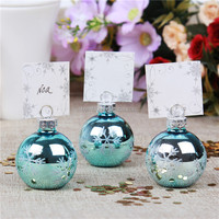 Snowflake Bule GLASS Bauble wedding Place Card Holder ornament