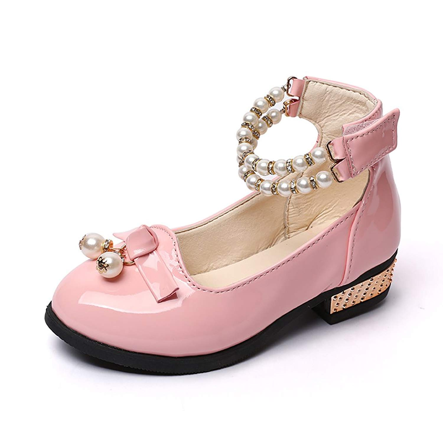 fb18e4c6eb4627 Get Quotations · BININBOX Girls Pearl Girls Dress Shoes Low Heels Leather Shoes  Kids Sandals