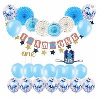 I AM ONE Baby Clothes Boy First Party Blue Glitter Crown Birthday Party Decorations Set