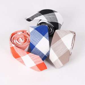 Mens Eco-friendly Handmade Plaid Cashmere Wool Slim Ties