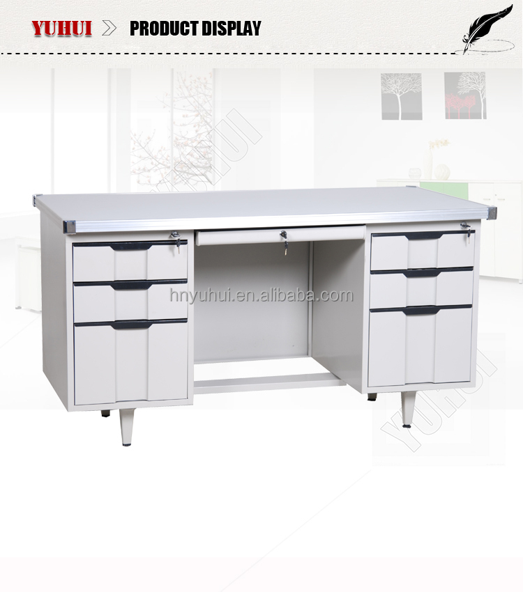 Iron White Office Desk With 6 Drawers / Plastic Handles Metal Office Table