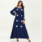 Oversize Long-sleeved Plus-size Women Dress Pure Color Patchwork Embroidered Long Skirt Gown Dress Abaya D
