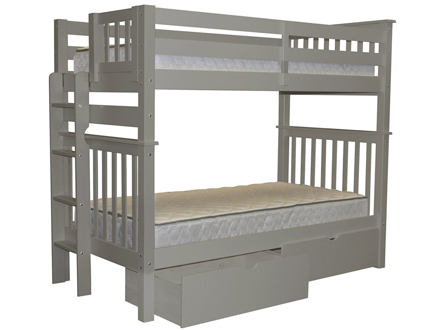 Bedz King Tall Bunk Beds Twin over Twin Mission Style with End Ladder and 2 Under Bed Drawers, Gray