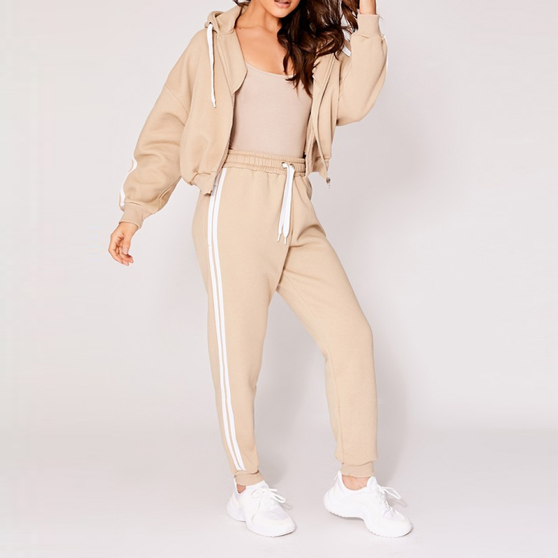 Sport Hoodie Long Sleeve Front Zipper Relaxed Fit Jogger Women Tracksuit