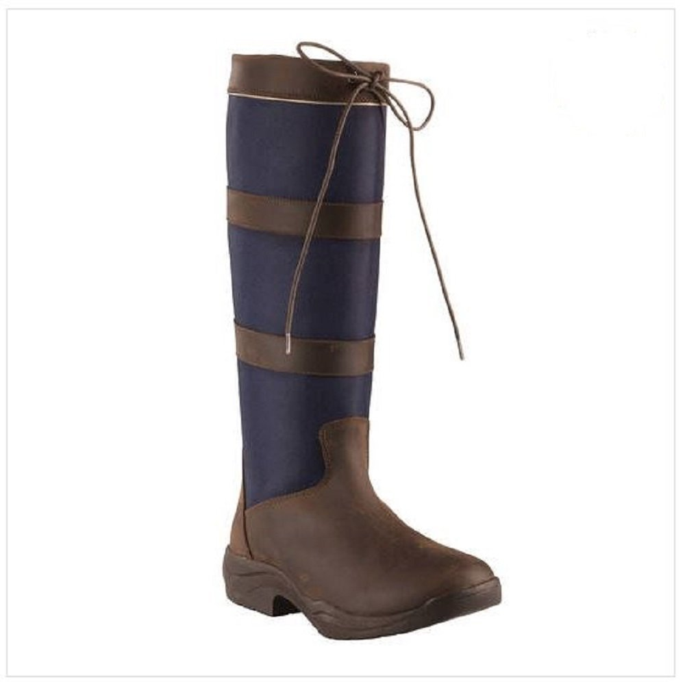 b82ad978a8b7 Get Quotations · Horze Waterproof Country Navy Fabric Leather Trimmed Tall  Water Resistant Boots (US 10 EU