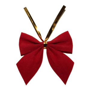 new design fantastic red velvet gift bow/cheap tuxedo velour ribbon bows/hot sale premade bow with wire twist tie