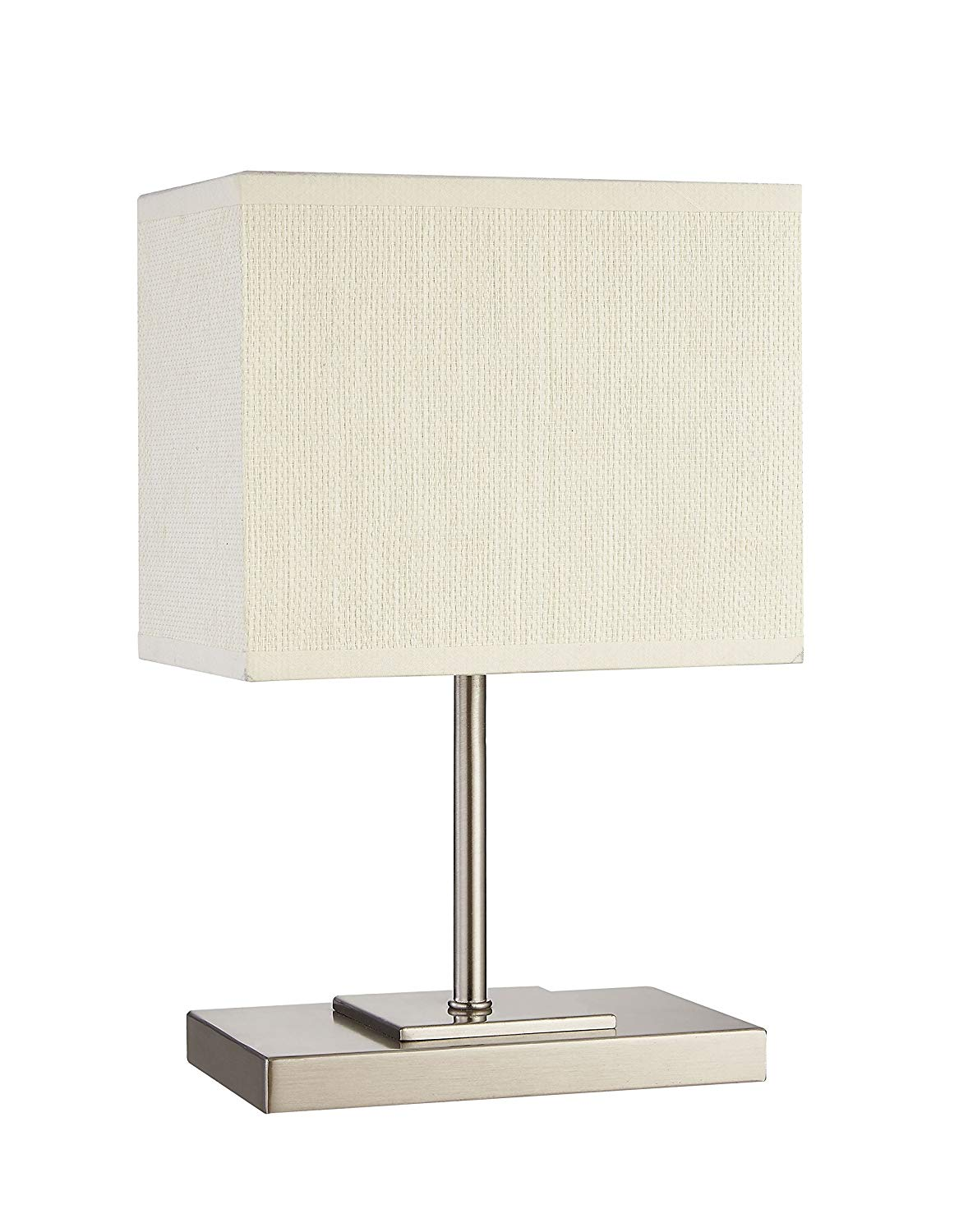 Table Lamp, DILI HOME Bedside Desk Lamp With Paper Fabric Shade and Metal base for Bedroom, Dresser, Living Room, Baby Room, College Dorm, Coffee Table, Bookcase (rectangular)