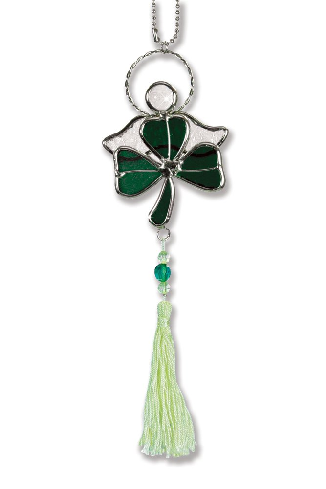 BANBERRY DESIGNS Shamrock Suncatcher - Green Stained Glass Shamrock with Irish Angel - Irish Decor - St. Patrick's Day Decoration - Glass Shamrock - Irish Gifts - Irish Sun Catcher