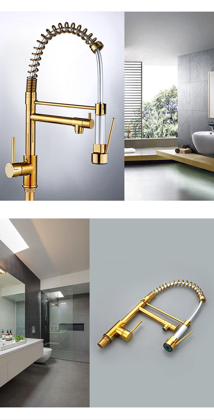 Pull out fashion design polished rose gold torneira kitchen faucet
