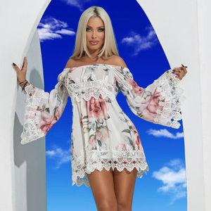 9c3b0a4ba3c20 CY- 35 2019 latest new come Fashion Printing Comfortable Lotus Leaf Sleeve  Splicing slash neck Sexy Women's Dresses
