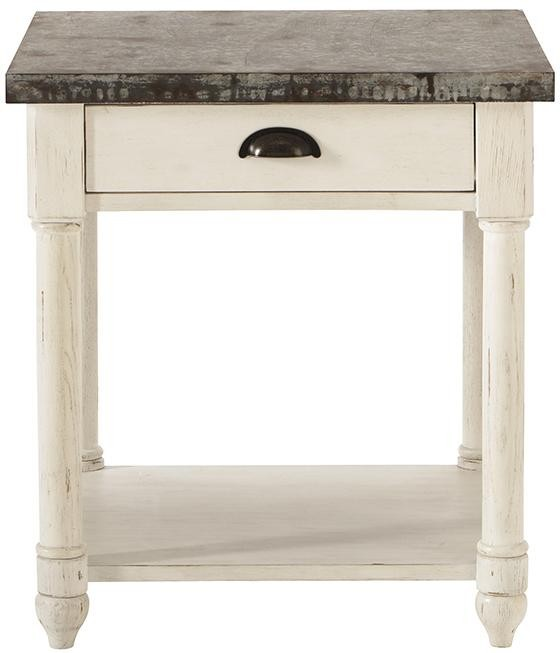 Shabby chic metal top solidwood leg wooden end table