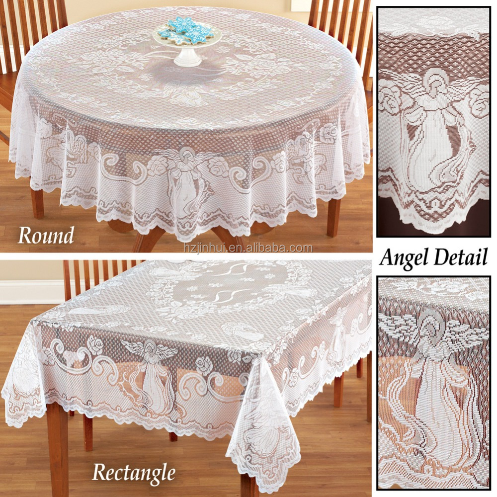 Christmas Decoration Angel Lace Tablecloth Rectangle Round 70 inch