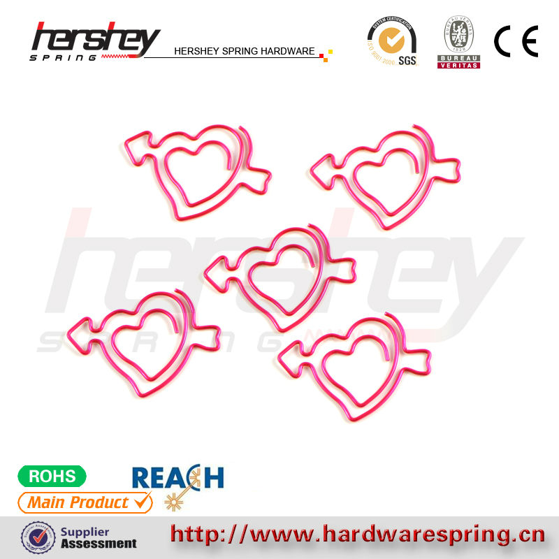 pink heart shape lovely paper clips