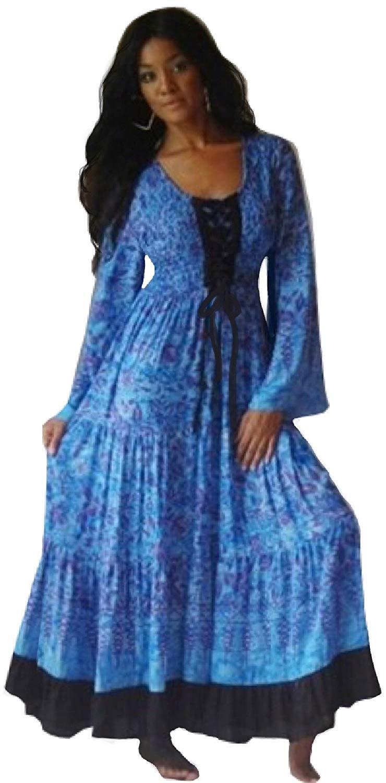 378faa10385d Get Quotations · Lotustraders Smocked Hippie Ruffled Rayon Batik Maxi Dress  B736