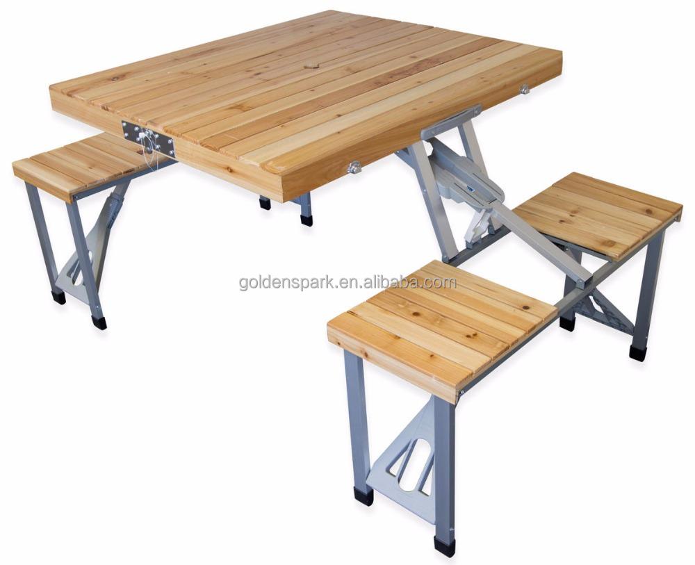 Portable Wooden Outdoor Garden Camping Suitcase Folding Picnic Table
