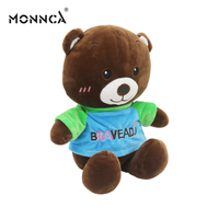 custom plush brown teddy bear with embroidered logo and tee shirt