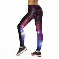 New Sexy Starry Sky Printed leggings Purple Outer Space Gym Tights Female Skinny Hollow Yoga pants