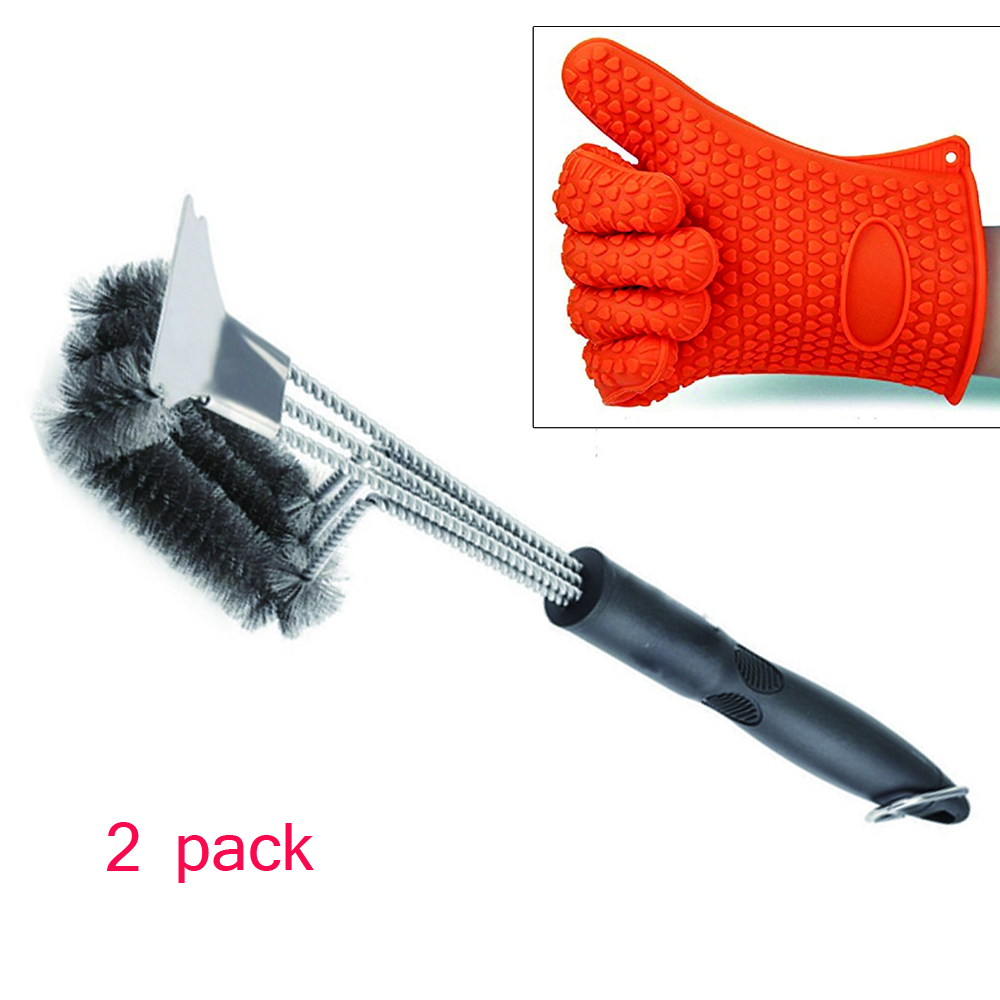 WB WCZY BG02 BBQ stainless steel grill cleaning brush Anti-heat silicone gloves bbq tools set