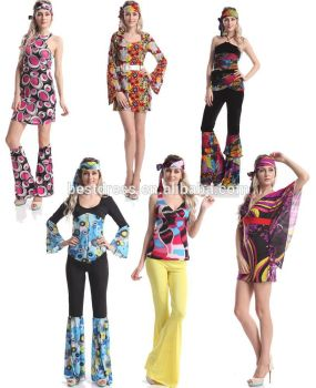 Instyles Hippie Ladies Costume 1960s Groovy Retro Womens 60s 70s Fancy Dress Outfit