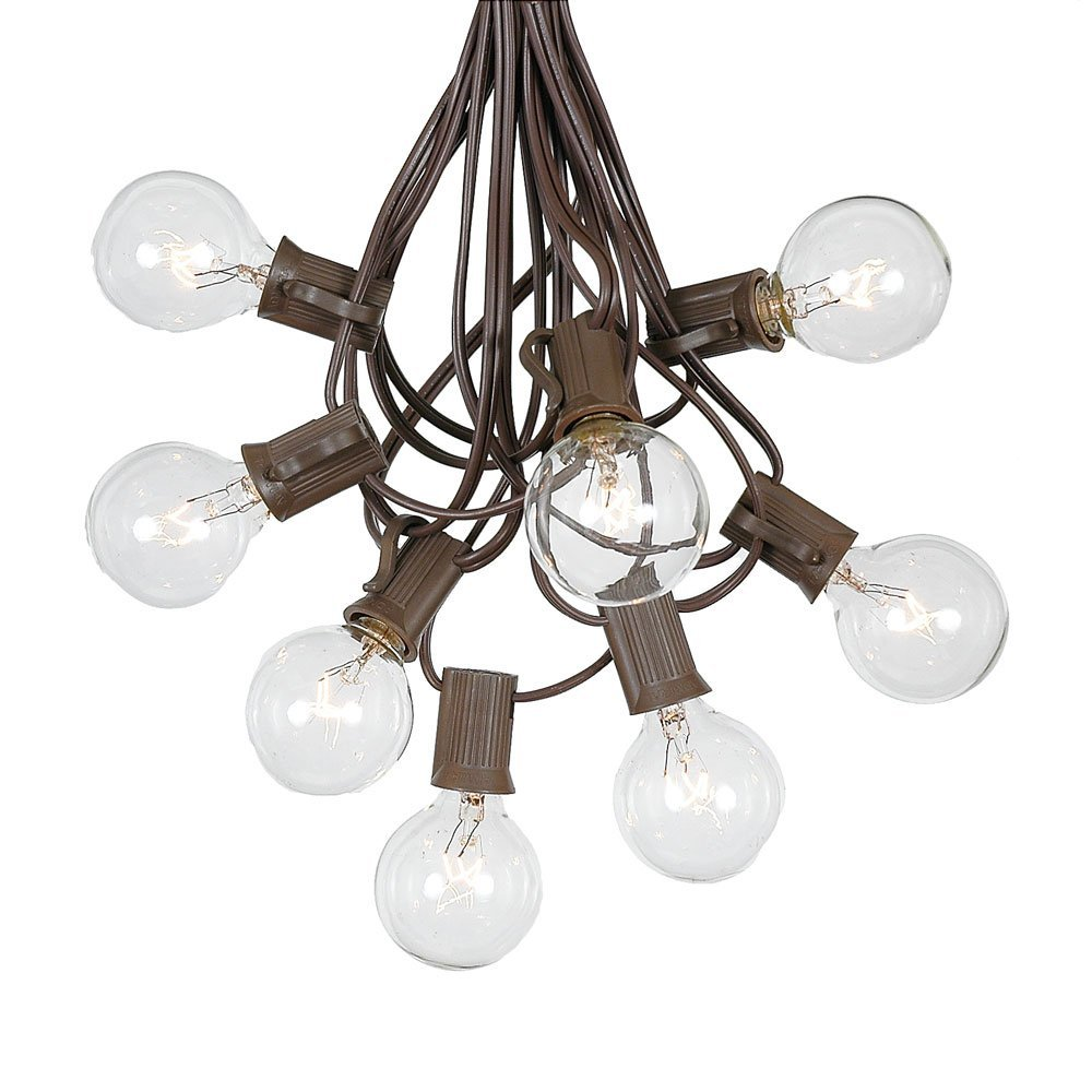 G40 Patio String Lights With 125 Clear Globe Bulbs - Hanging Garden String Lights - Vintage Backyard Patio Lights - Outdoor String Lights - Market Cafe String Lights - Brown Wire - 100 Foot