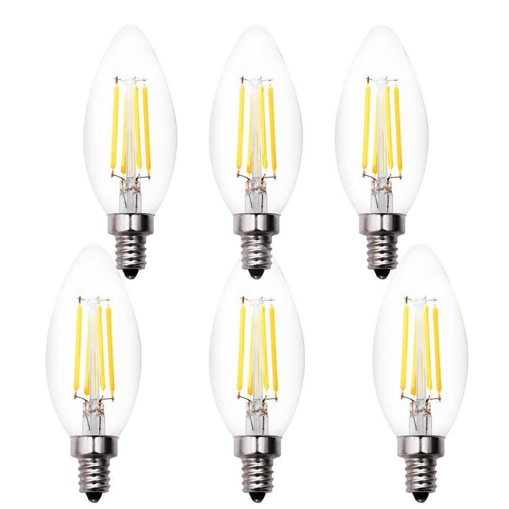 Led Candelabra Bulbs Simex 6 Pack Dimmable 4w Decorative Chandelier Candle Light Bulb
