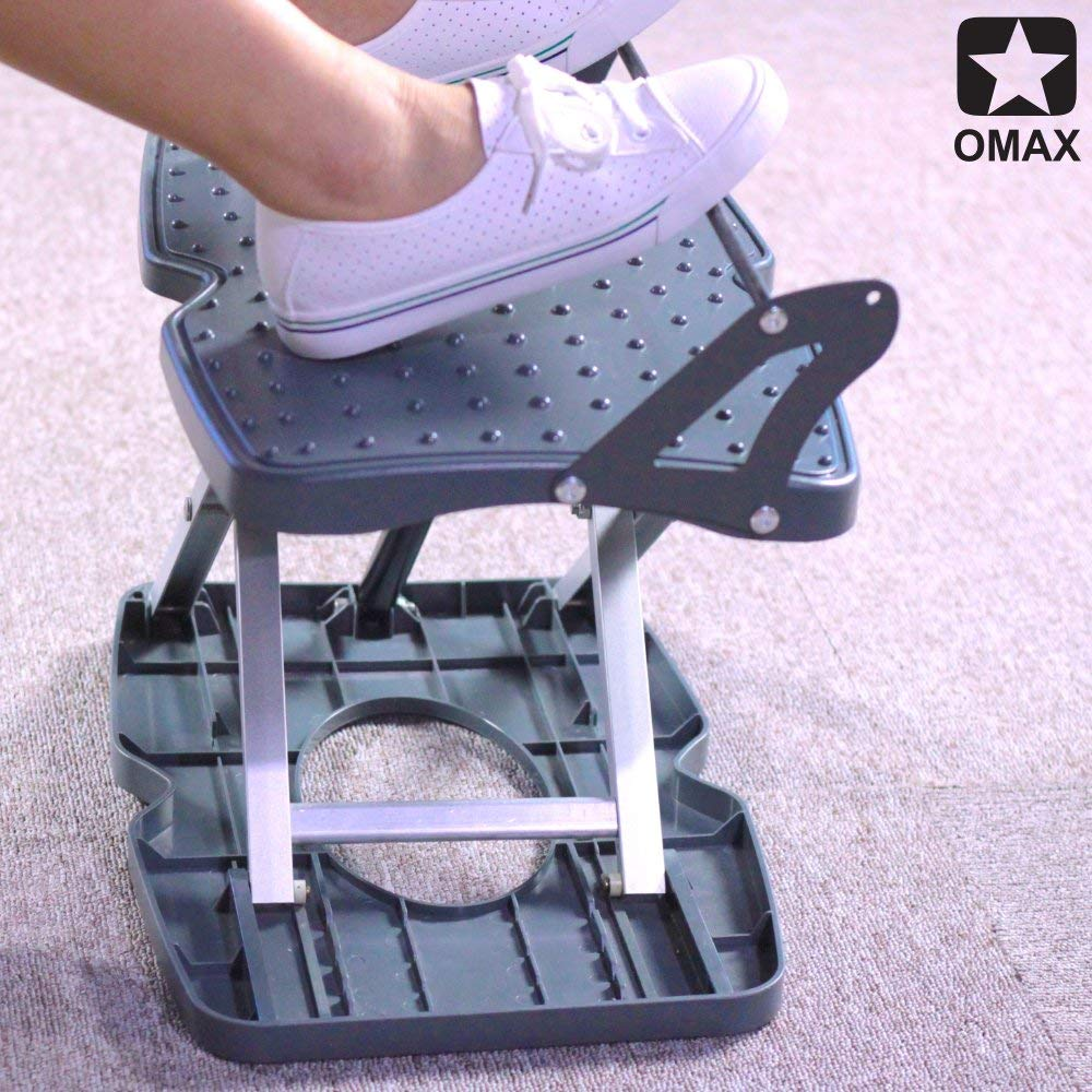 2018 OMAX Ergonomic Comfort High Adjustable Footrest New Pebbles Therapy Technique Massage Foot Rest Automatic Lifting High Under Desk Foot Rest (Angle)
