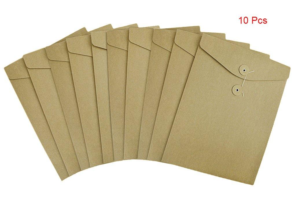10 Pcs A4 Size Kraft Paper Project Envelope File Folder Bags Document Bills Storage Organizer Bag Case with Expandable Gusset Portfolio Organizer Sleeve Pocket With String Fastener, Office Supplies